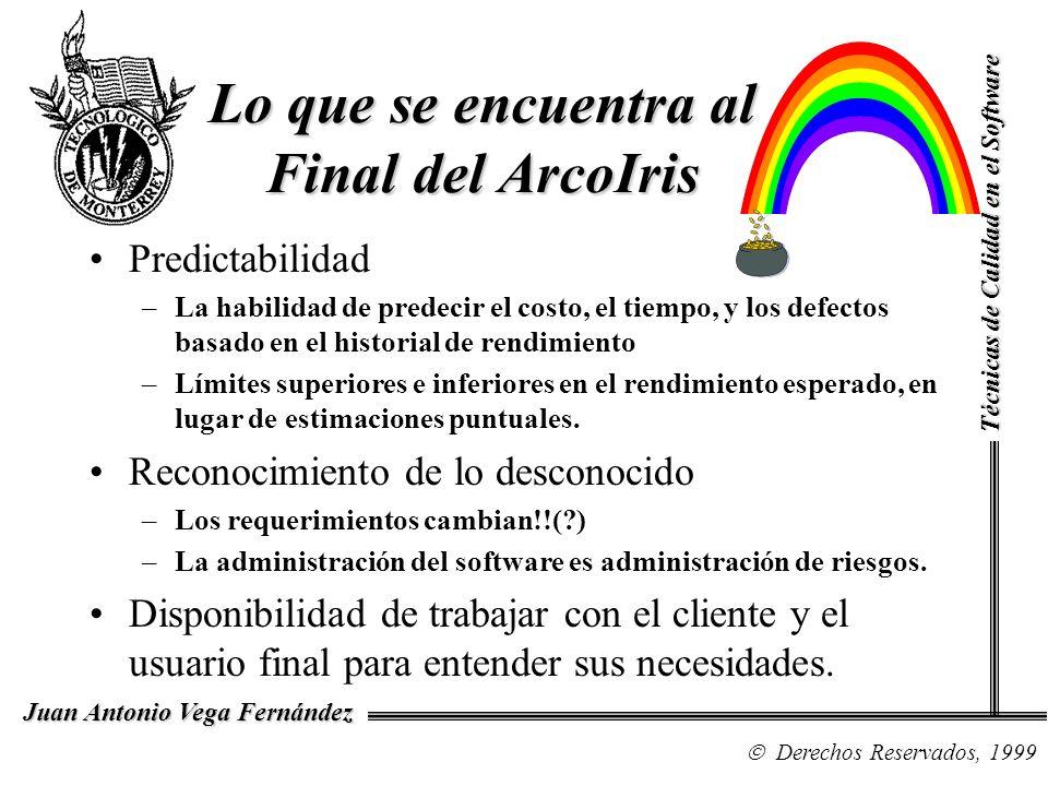 Técnicas de Calidad en el Software Derechos Reservados, 1999 Juan Antonio Vega Fernández Lo que se encuentra al Final del ArcoIris Predictabilidad –La