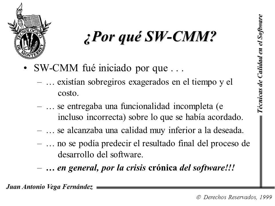 Técnicas de Calidad en el Software Derechos Reservados, 1999 Juan Antonio Vega Fernández ¿Por qué SW-CMM? SW-CMM fué iniciado por que... –… existían s