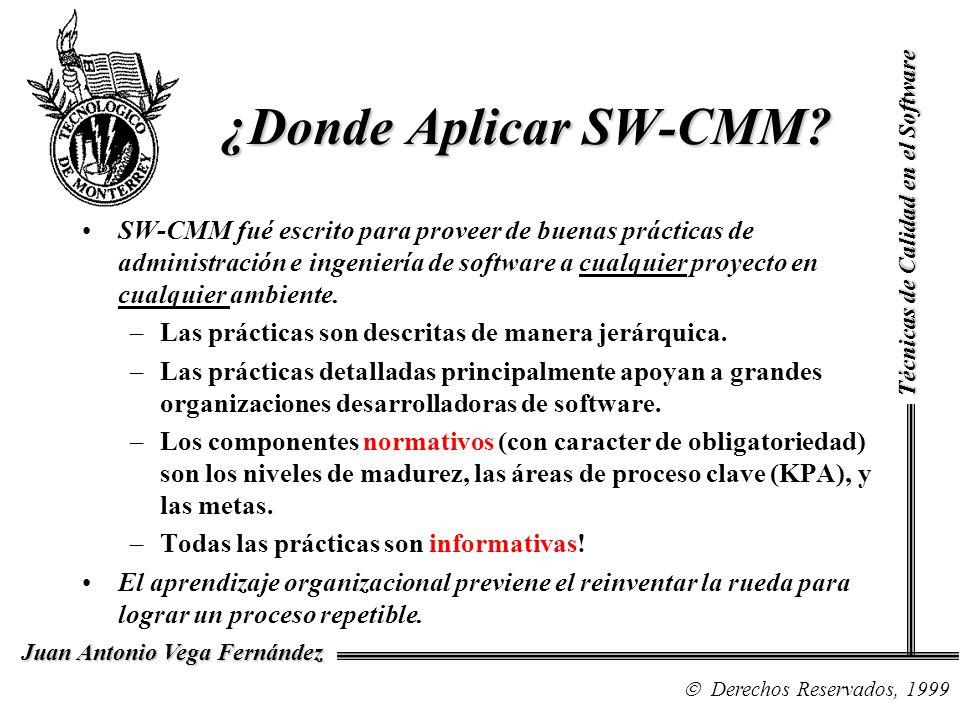 Técnicas de Calidad en el Software Derechos Reservados, 1999 Juan Antonio Vega Fernández ¿Donde Aplicar SW-CMM? SW-CMM fué escrito para proveer de bue