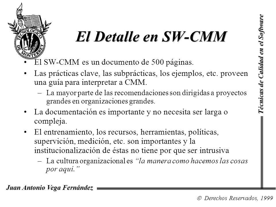 Técnicas de Calidad en el Software Derechos Reservados, 1999 Juan Antonio Vega Fernández El Detalle en SW-CMM El SW-CMM es un documento de 500 páginas