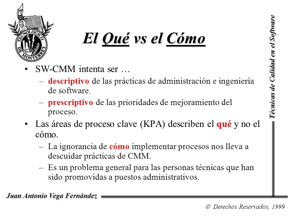 Técnicas de Calidad en el Software Derechos Reservados, 1999 Juan Antonio Vega Fernández El Qué vs el Cómo SW-CMM intenta ser … –descriptivo de las pr