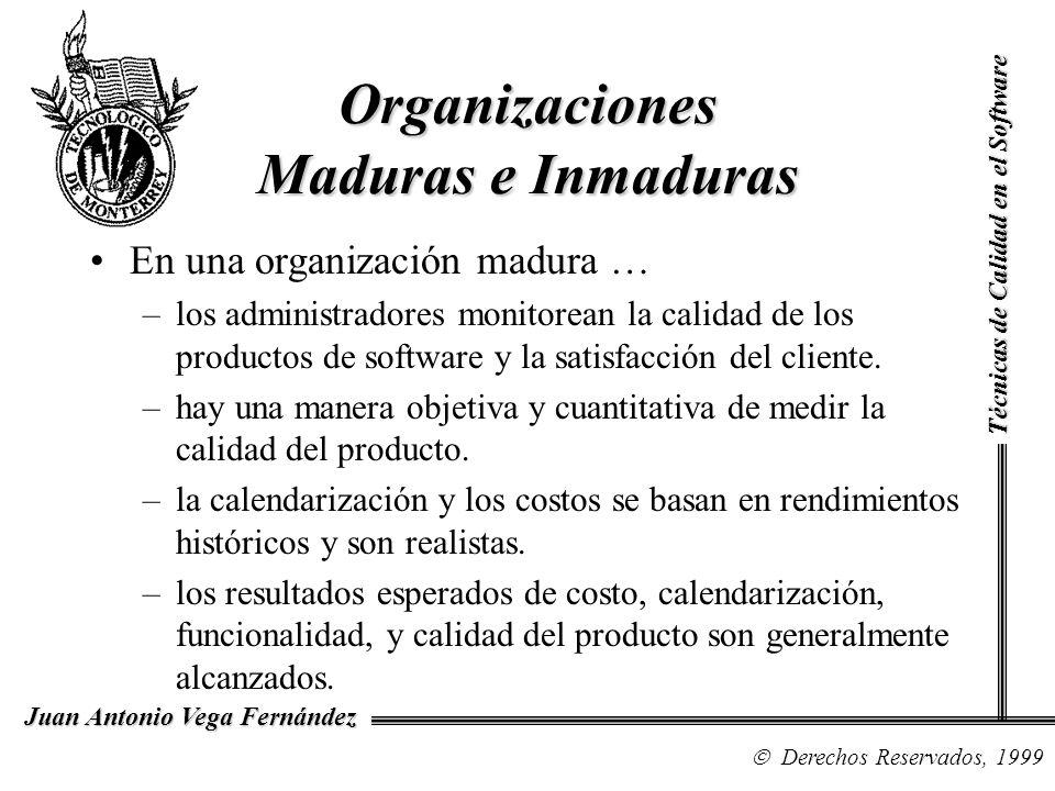 Técnicas de Calidad en el Software Derechos Reservados, 1999 Juan Antonio Vega Fernández Evolución e Historia del CMM Se desarrollan dos métodos software process assessment y software capability evaluation y un cuestionario de madurez.