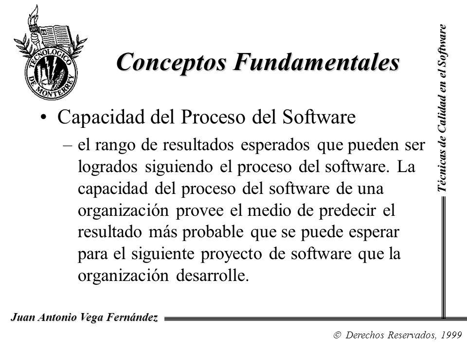 Técnicas de Calidad en el Software Derechos Reservados, 1999 Juan Antonio Vega Fernández Rendimiento del Proceso del Software –representa el resultado real alcanzado por seguir el proceso del software.