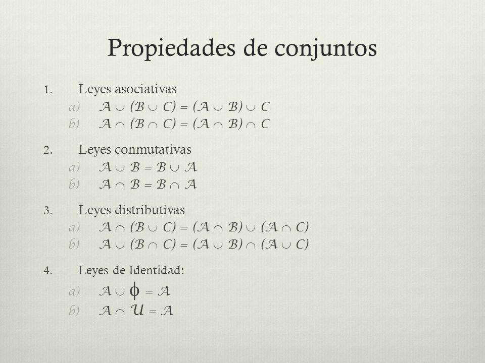 Propiedades de conjuntos 1. Leyes asociativas a) A (B C) = (A B) C b) A (B C) = (A B) C 2. Leyes conmutativas a) A B = B A b) A B = B A 3. Leyes distr