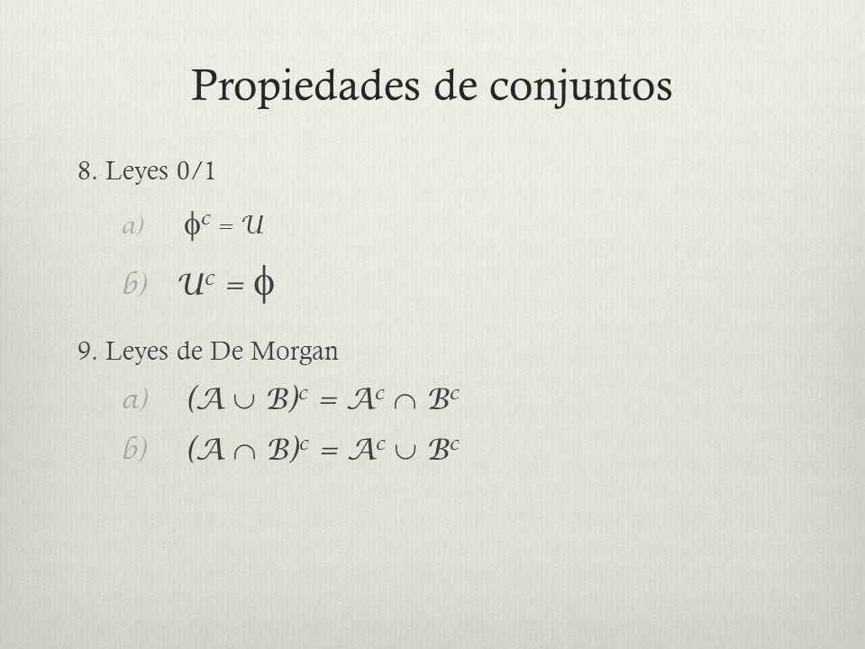 Propiedades de conjuntos 8. Leyes 0/1 a) c = U b) U c = 9. Leyes de De Morgan a) (A B) c = A c B c b) (A B) c = A c B c
