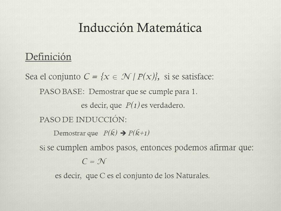 Inducción Matemática Definición Sea el conjunto C = {x N | P (x)}, si se satisface: PASO BASE: Demostrar que se cumple para 1. es decir, que P (1) es