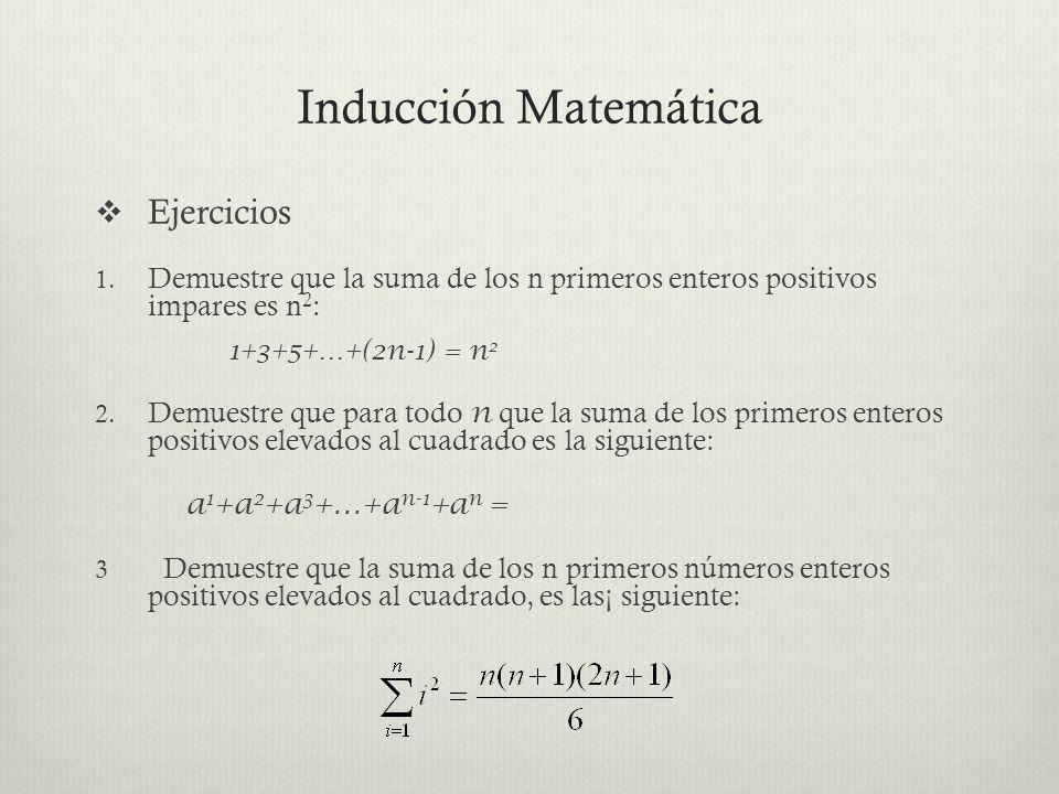 Ejercicios 1. Demuestre que la suma de los n primeros enteros positivos impares es n 2 : 1+3+5+…+(2n-1) = n 2 2. Demuestre que para todo n que la suma