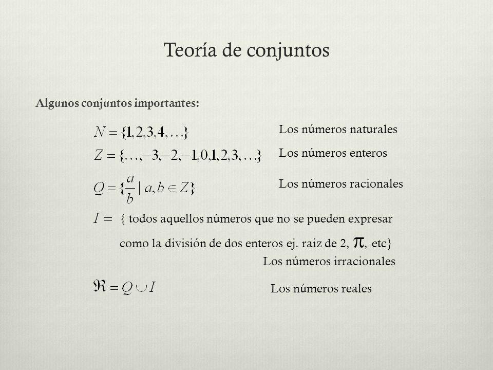 Teoría de conjuntos Algunos conjuntos importantes: { todos aquellos números que no se pueden expresar como la división de dos enteros ej. raiz de 2,,