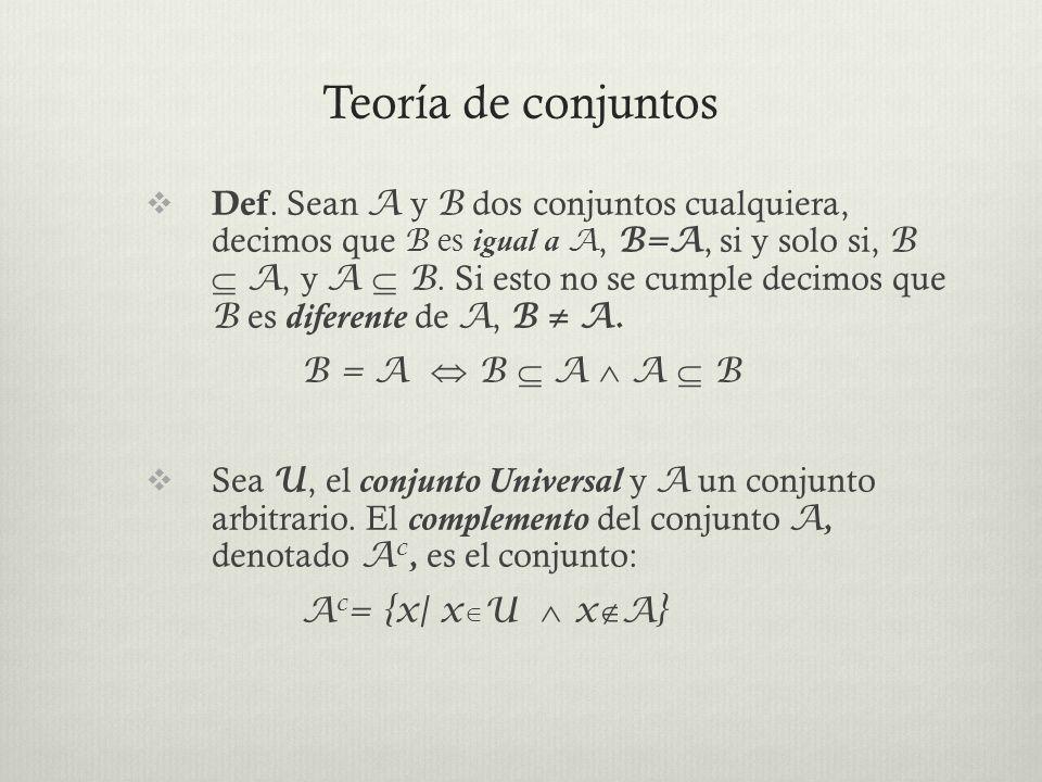 Teoría de conjuntos Propiedades del complemento: 1. (A c ) c = A 2. A c A = U 3. A A c =