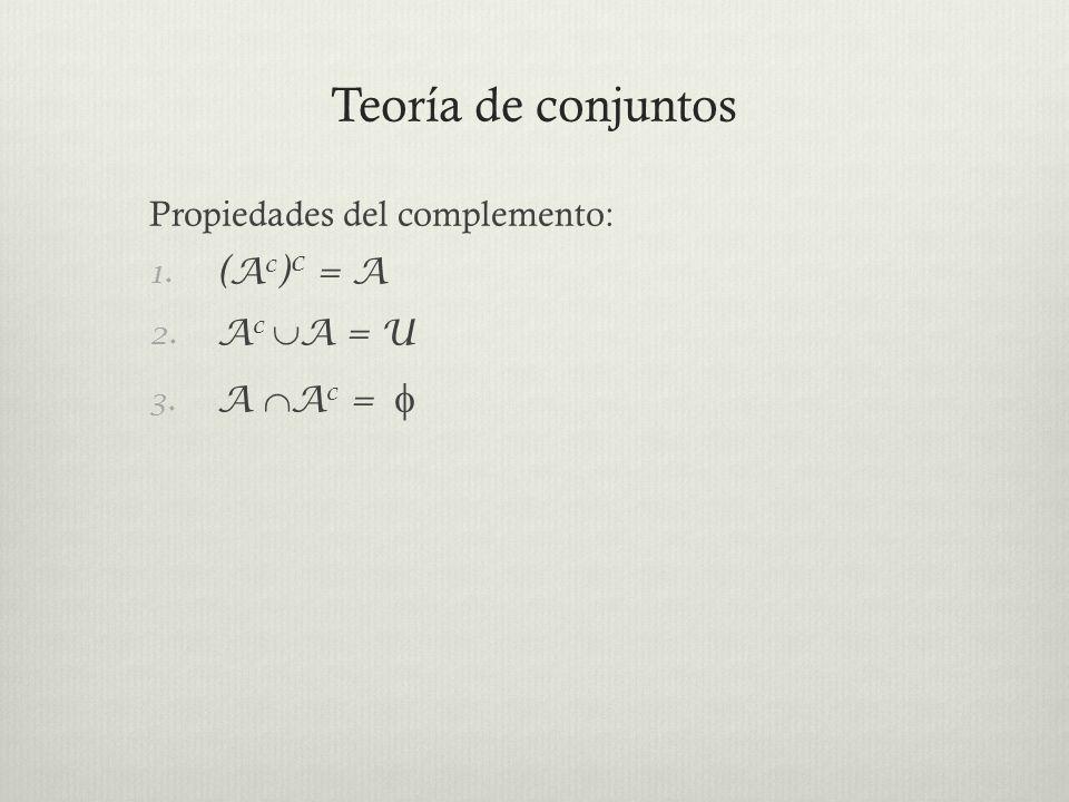 Teoría de conjuntos Operaciones con Conjuntos Def.