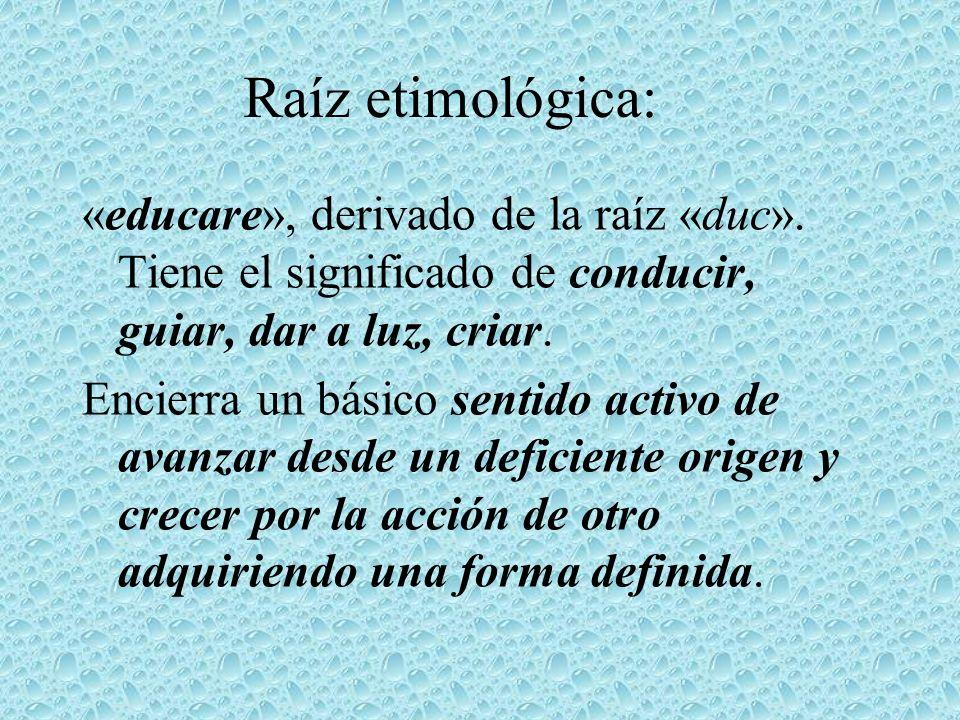 Raíz etimológica: «educare», derivado de la raíz «duc». Tiene el significado de conducir, guiar, dar a luz, criar. Encierra un básico sentido activo d