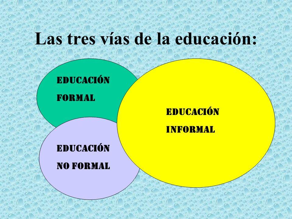 Las tres vías de la educación: Educación formal Educación No formal Educación informal