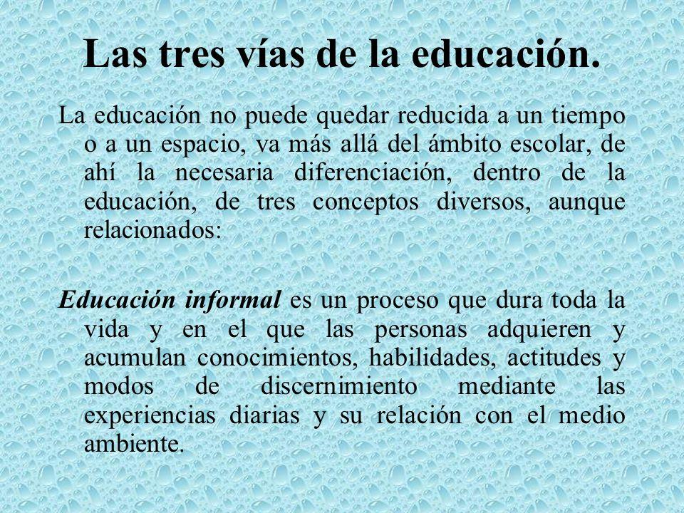 Las tres vías de la educación. La educación no puede quedar reducida a un tiempo o a un espacio, va más allá del ámbito escolar, de ahí la necesaria d