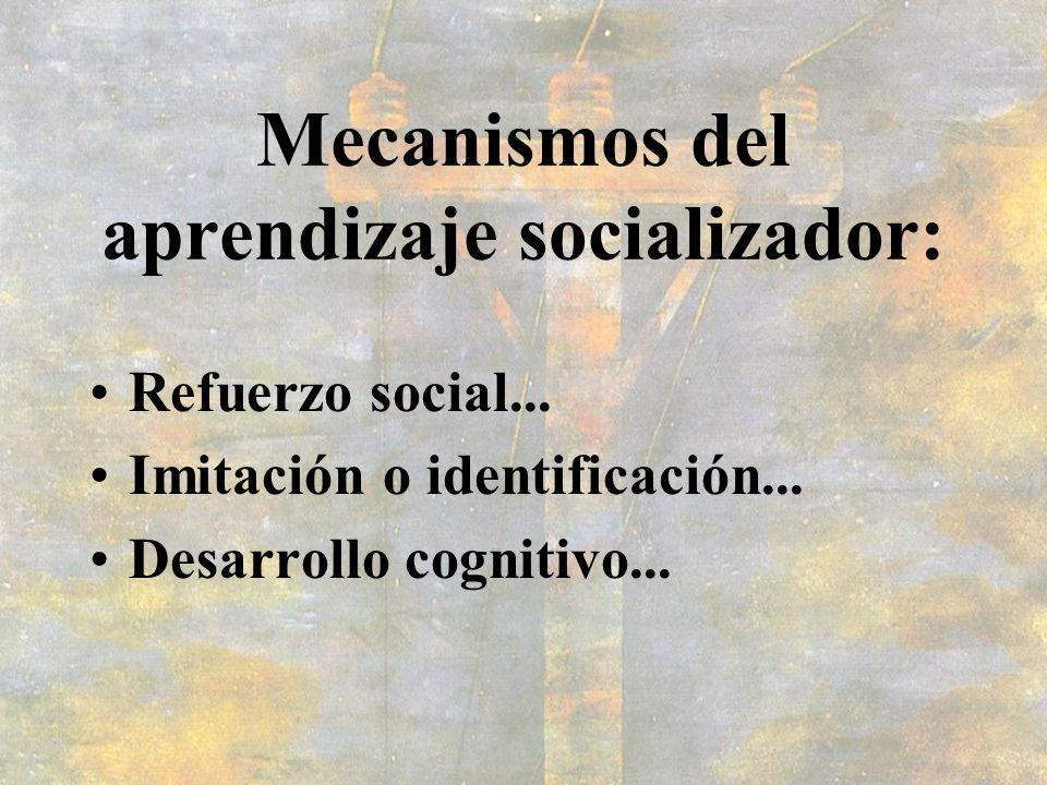 Mecanismos del aprendizaje socializador: Refuerzo social... Imitación o identificación... Desarrollo cognitivo...