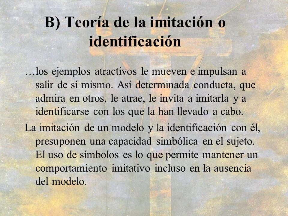 B) Teoría de la imitación o identificación …los ejemplos atractivos le mueven e impulsan a salir de sí mismo. Así determinada conducta, que admira en