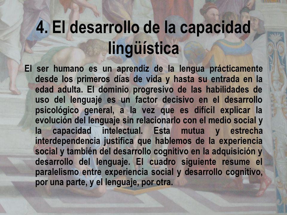 4. El desarrollo de la capacidad lingüística El ser humano es un aprendiz de la lengua prácticamente desde los primeros días de vida y hasta su entrad