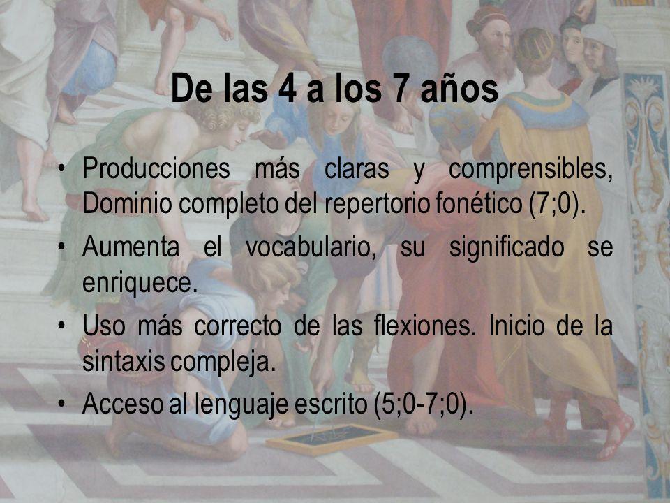 De las 4 a los 7 años Producciones más claras y comprensibles, Dominio completo del repertorio fonético (7;0). Aumenta el vocabulario, su significado