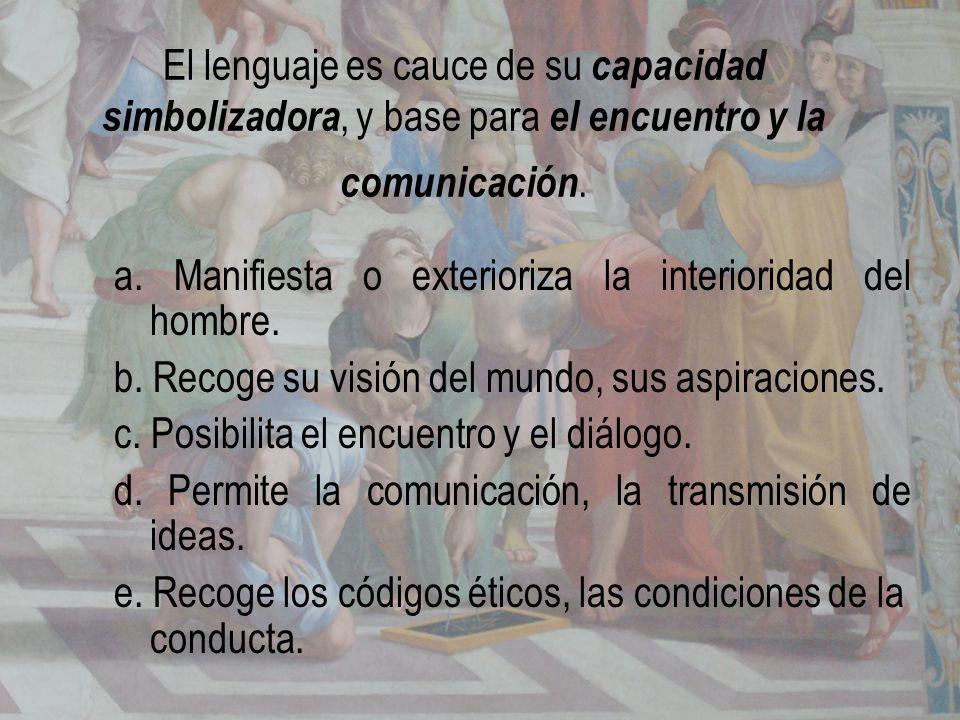 El lenguaje es cauce de su capacidad simbolizadora, y base para el encuentro y la comunicación. a. Manifiesta o exterioriza la interioridad del hombre