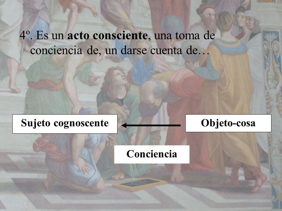 4º. Es un acto consciente, una toma de conciencia de, un darse cuenta de… Sujeto cognoscenteObjeto-cosa Conciencia
