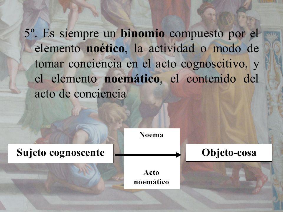 5º. Es siempre un binomio compuesto por el elemento noético, la actividad o modo de tomar conciencia en el acto cognoscitivo, y el elemento noemático,