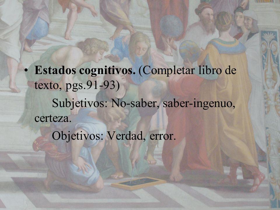 Estados cognitivos. (Completar libro de texto, pgs.91-93) Subjetivos: No-saber, saber-ingenuo, certeza. Objetivos: Verdad, error.