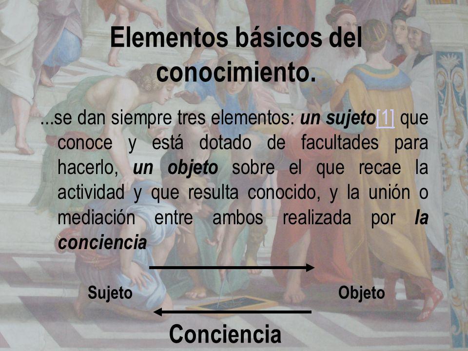 Elementos básicos del conocimiento....se dan siempre tres elementos: un sujeto [1] que conoce y está dotado de facultades para hacerlo, un objeto sobr