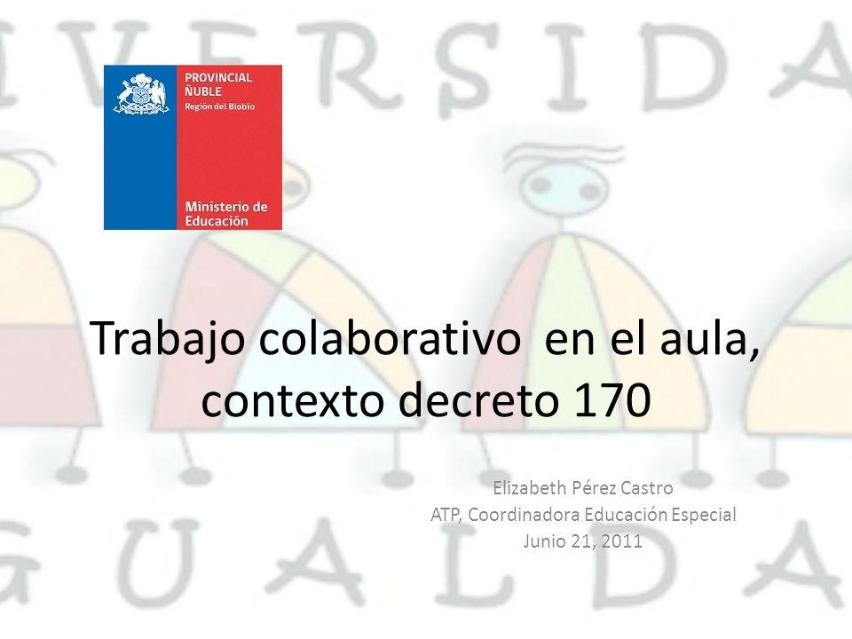 Trabajo colaborativo en el aula, contexto decreto 170 Elizabeth Pérez Castro ATP, Coordinadora Educación Especial Junio 21, 2011
