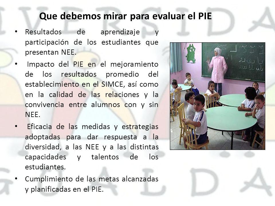 Que debemos mirar para evaluar el PIE Resultados de aprendizaje y participación de los estudiantes que presentan NEE. Impacto del PIE en el mejoramien
