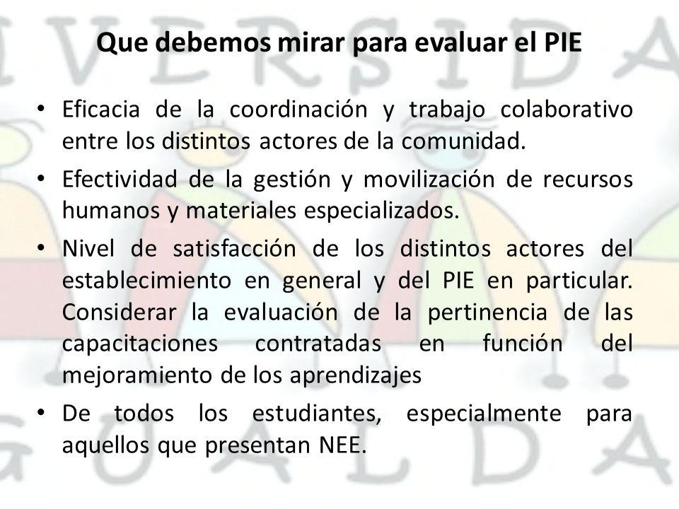 Que debemos mirar para evaluar el PIE Eficacia de la coordinación y trabajo colaborativo entre los distintos actores de la comunidad. Efectividad de l