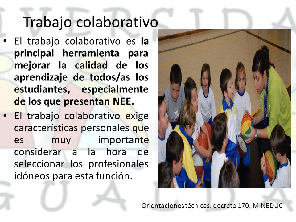 Trabajo colaborativo El trabajo colaborativo es la principal herramienta para mejorar la calidad de los aprendizaje de todos/as los estudiantes, especialmente de los que presentan NEE.