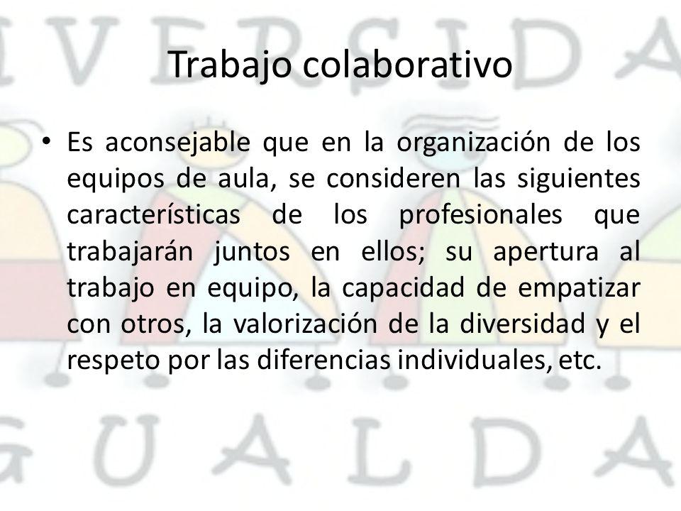 Trabajo colaborativo Es aconsejable que en la organización de los equipos de aula, se consideren las siguientes características de los profesionales que trabajarán juntos en ellos; su apertura al trabajo en equipo, la capacidad de empatizar con otros, la valorización de la diversidad y el respeto por las diferencias individuales, etc.