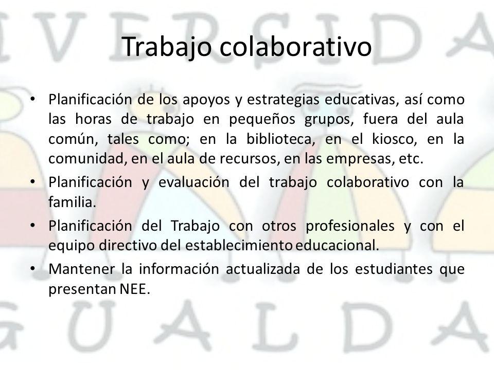 Trabajo colaborativo Planificación de los apoyos y estrategias educativas, así como las horas de trabajo en pequeños grupos, fuera del aula común, tales como; en la biblioteca, en el kiosco, en la comunidad, en el aula de recursos, en las empresas, etc.