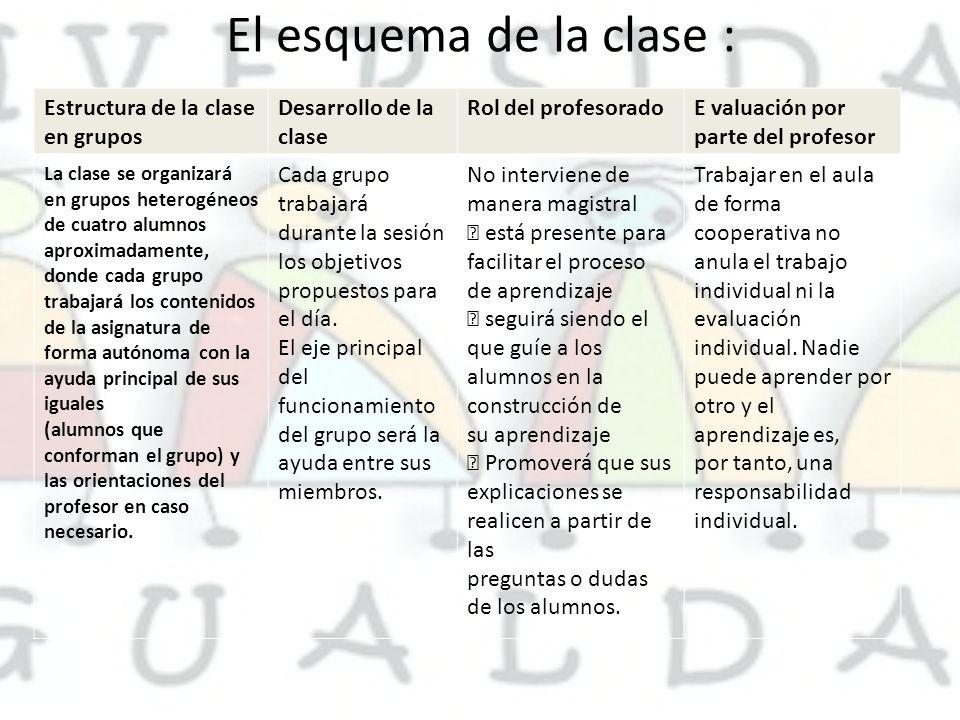 El esquema de la clase : Estructura de la clase en grupos Desarrollo de la clase Rol del profesoradoE valuación por parte del profesor La clase se org
