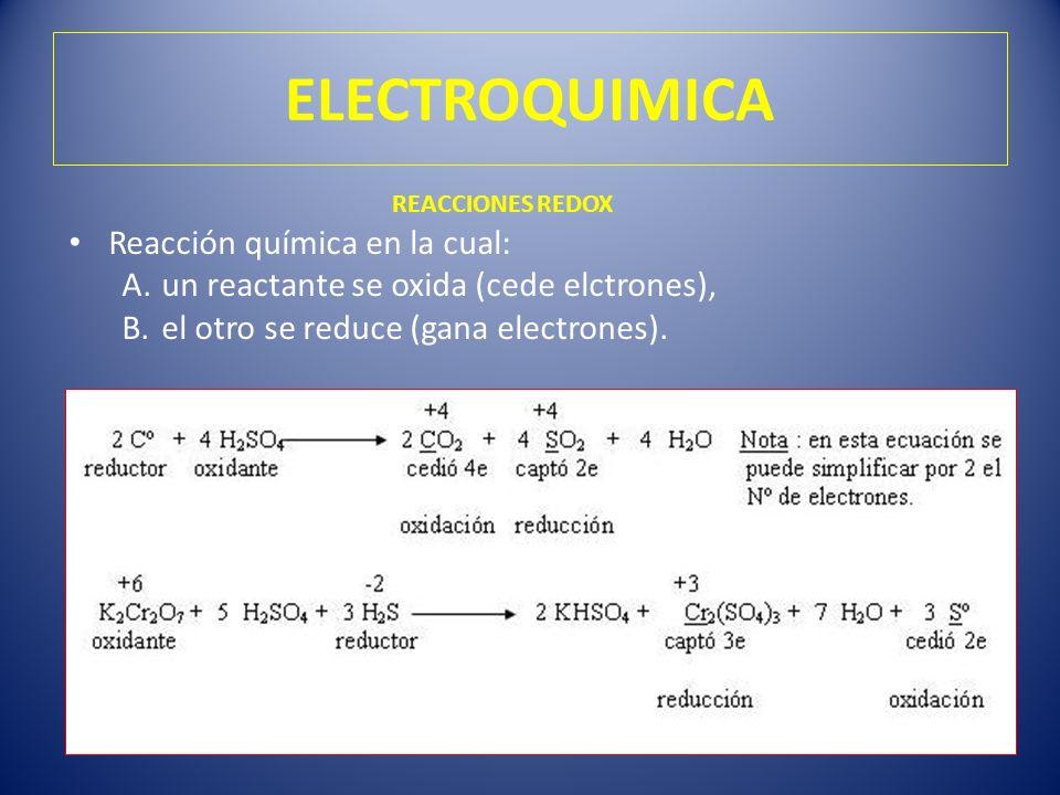ELECTROQUIMICA Reacción química en la cual: A.un reactante se oxida (cede elctrones), B.el otro se reduce (gana electrones). REACCIONES REDOX