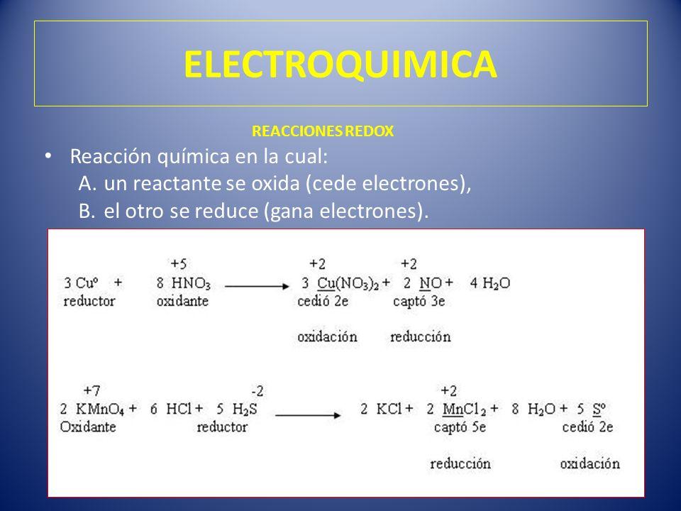 ELECTROQUIMICA Reacción química en la cual: A.un reactante se oxida (cede electrones), B.el otro se reduce (gana electrones). REACCIONES REDOX