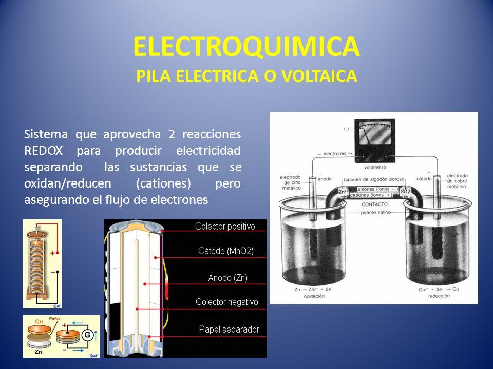 ELECTROQUIMICA PILA ELECTRICA O VOLTAICA Sistema que aprovecha 2 reacciones REDOX para producir electricidad separando las sustancias que se oxidan/re