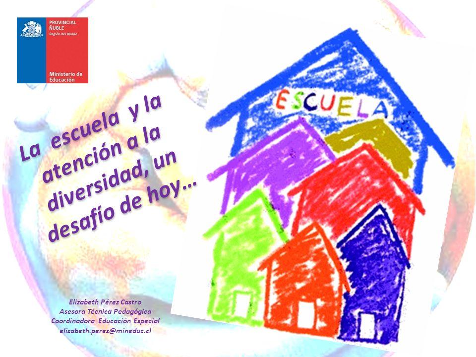La escuela y la atención a la diversidad, un desafío de hoy… Elizabeth Pérez Castro Asesora Técnica Pedagógica Coordinadora Educación Especial elizabe