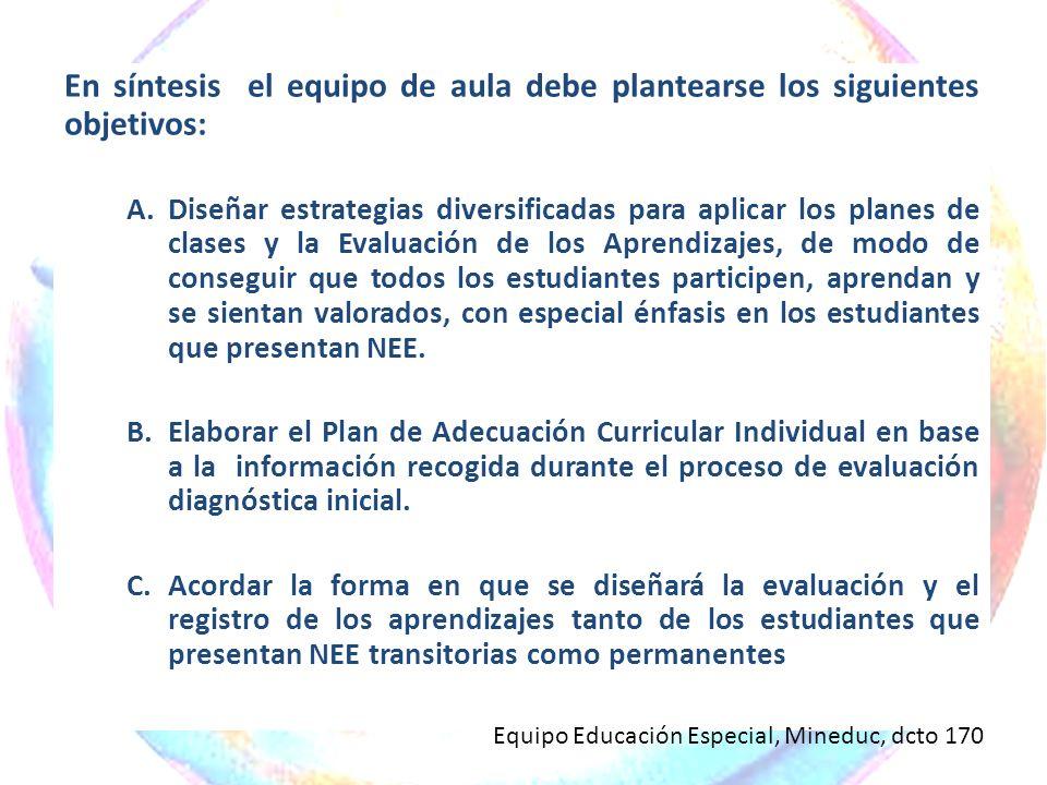 En síntesis el equipo de aula debe plantearse los siguientes objetivos: A.Diseñar estrategias diversificadas para aplicar los planes de clases y la Ev