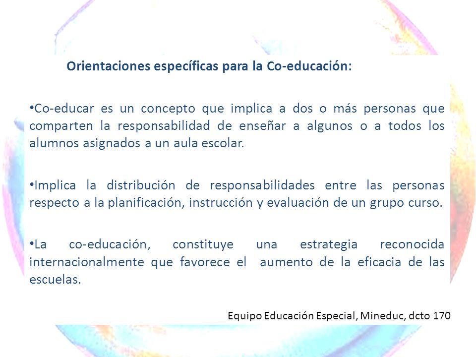 Orientaciones específicas para la Co-educación: Co-educar es un concepto que implica a dos o más personas que comparten la responsabilidad de enseñar