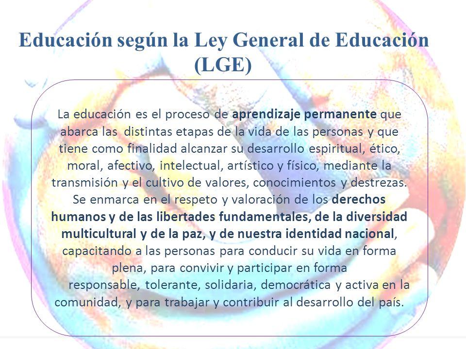 Educación según la Ley General de Educación (LGE) La educación es el proceso de aprendizaje permanente que abarca las distintas etapas de la vida de l