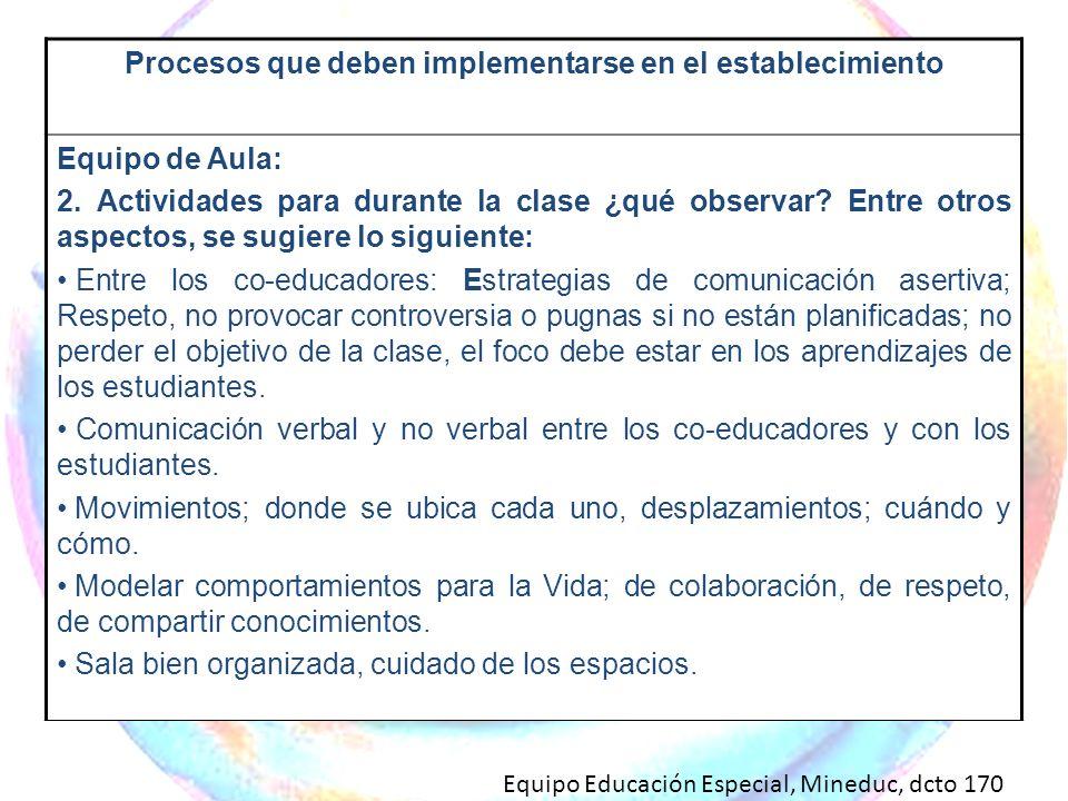Procesos que deben implementarse en el establecimiento Equipo de Aula: 2. Actividades para durante la clase ¿qué observar? Entre otros aspectos, se su