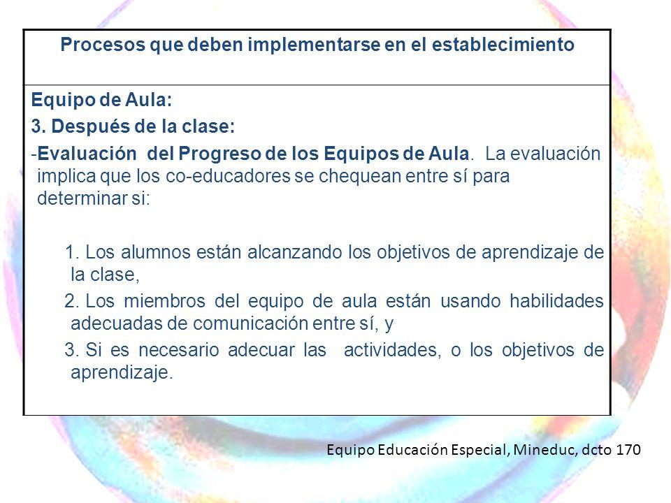 Procesos que deben implementarse en el establecimiento Equipo de Aula: 3. Después de la clase: -Evaluación del Progreso de los Equipos de Aula. La eva