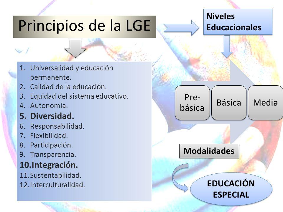 Principios de la LGE 1.Universalidad y educación permanente. 2.Calidad de la educación. 3.Equidad del sistema educativo. 4.Autonomía. 5.Diversidad. 6.