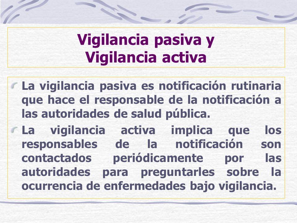 Vigilancia pasiva y Vigilancia activa La vigilancia pasiva es notificación rutinaria que hace el responsable de la notificación a las autoridades de s
