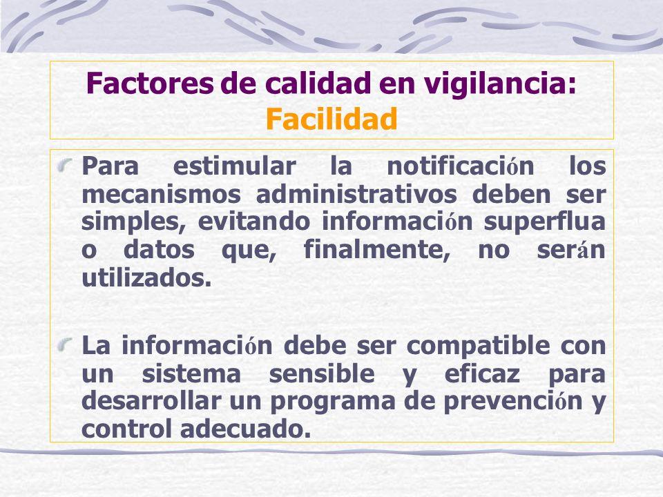 Factores de calidad en vigilancia: Facilidad Para estimular la notificaci ó n los mecanismos administrativos deben ser simples, evitando informaci ó n