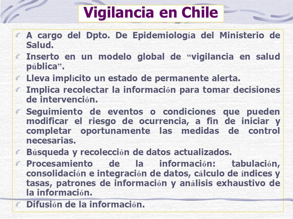 Vigilancia en Chile A cargo del Dpto. De Epidemiolog í a del Ministerio de Salud. Inserto en un modelo global de vigilancia en salud p ú blica. Lleva