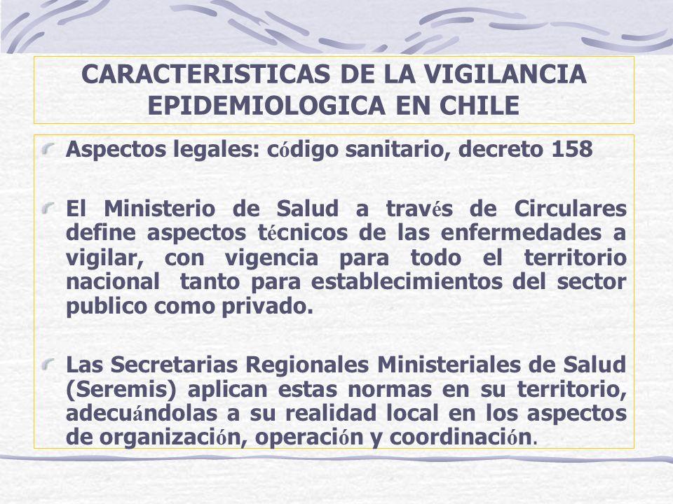 CARACTERISTICAS DE LA VIGILANCIA EPIDEMIOLOGICA EN CHILE Aspectos legales: c ó digo sanitario, decreto 158 El Ministerio de Salud a trav é s de Circul