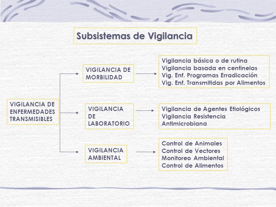 Subsistemas de Vigilancia VIGILANCIA DE ENFERMEDADES TRANSMISIBLES VIGILANCIA DE MORBILIDAD VIGILANCIA DE LABORATORIO VIGILANCIA AMBIENTAL Vigilancia