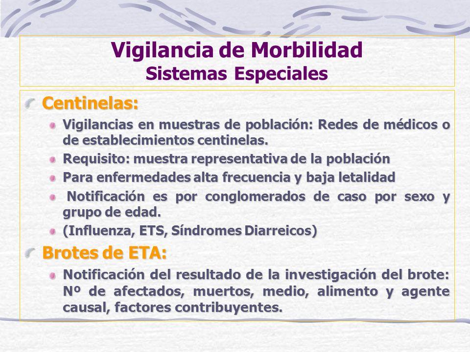 Vigilancia de Morbilidad Sistemas Especiales Centinelas: Vigilancias en muestras de población: Redes de médicos o de establecimientos centinelas. Requ
