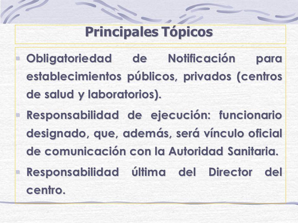 Principales Tópicos Obligatoriedad de Notificación para establecimientos públicos, privados (centros de salud y laboratorios). Obligatoriedad de Notif